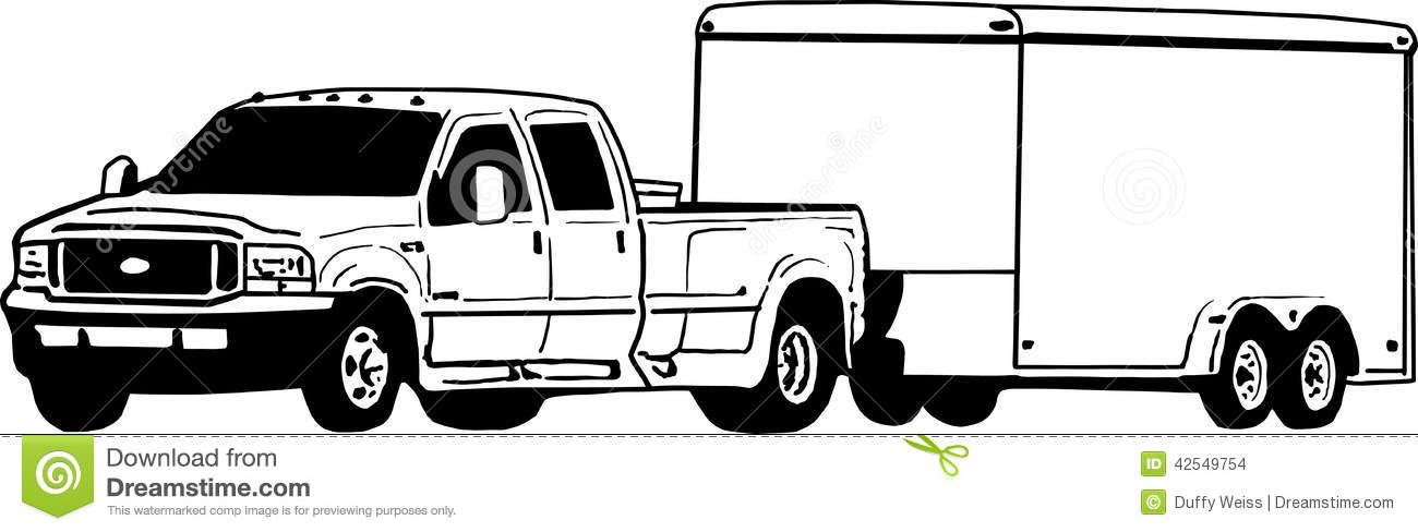 Dually Ford Pickup truck and enclosed featherlite trailer illustration ...