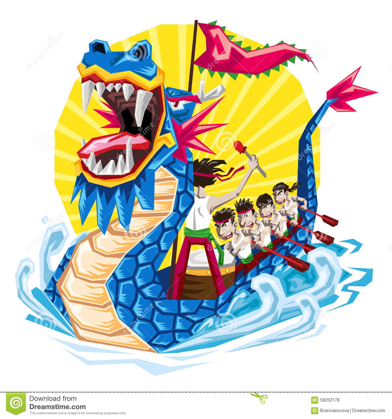 Duanwu Chinese Dragon Boat Festival, Illustration of Dragon Boat ...