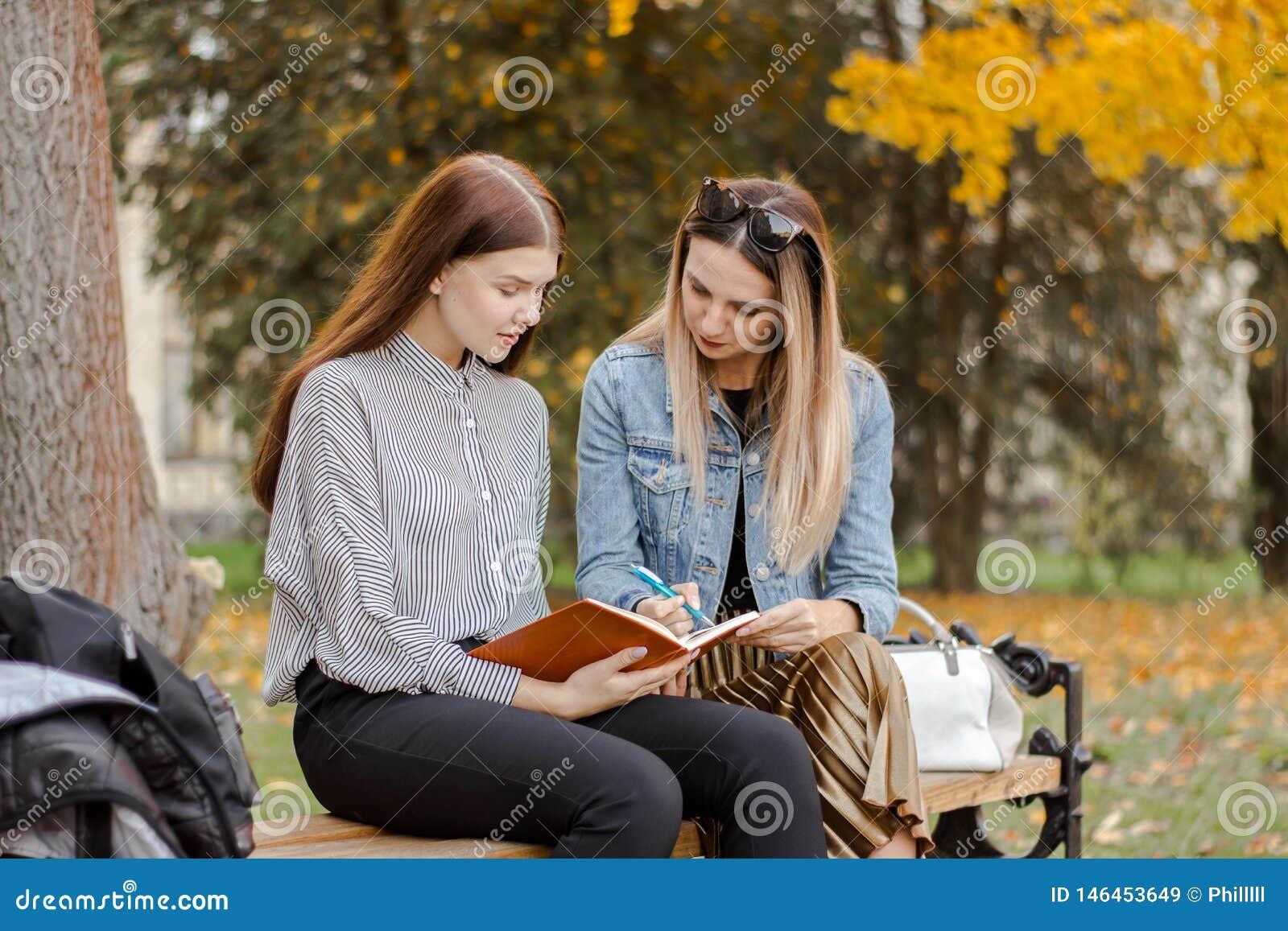 Duas amigas novas bonitas tomam notas ao sentar-se em um banco no parque do outono