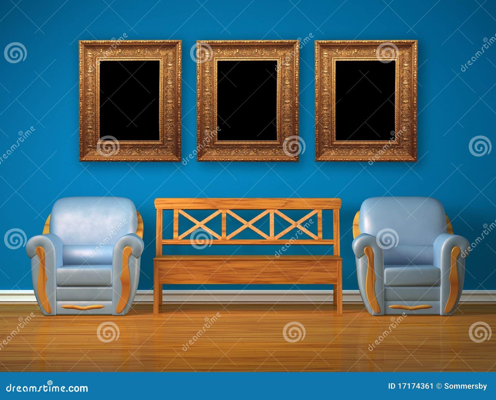 Duas Cadeiras Com Banco De Madeira E Frames Antigos Imagem de Stock  #044B6C 1300x1065