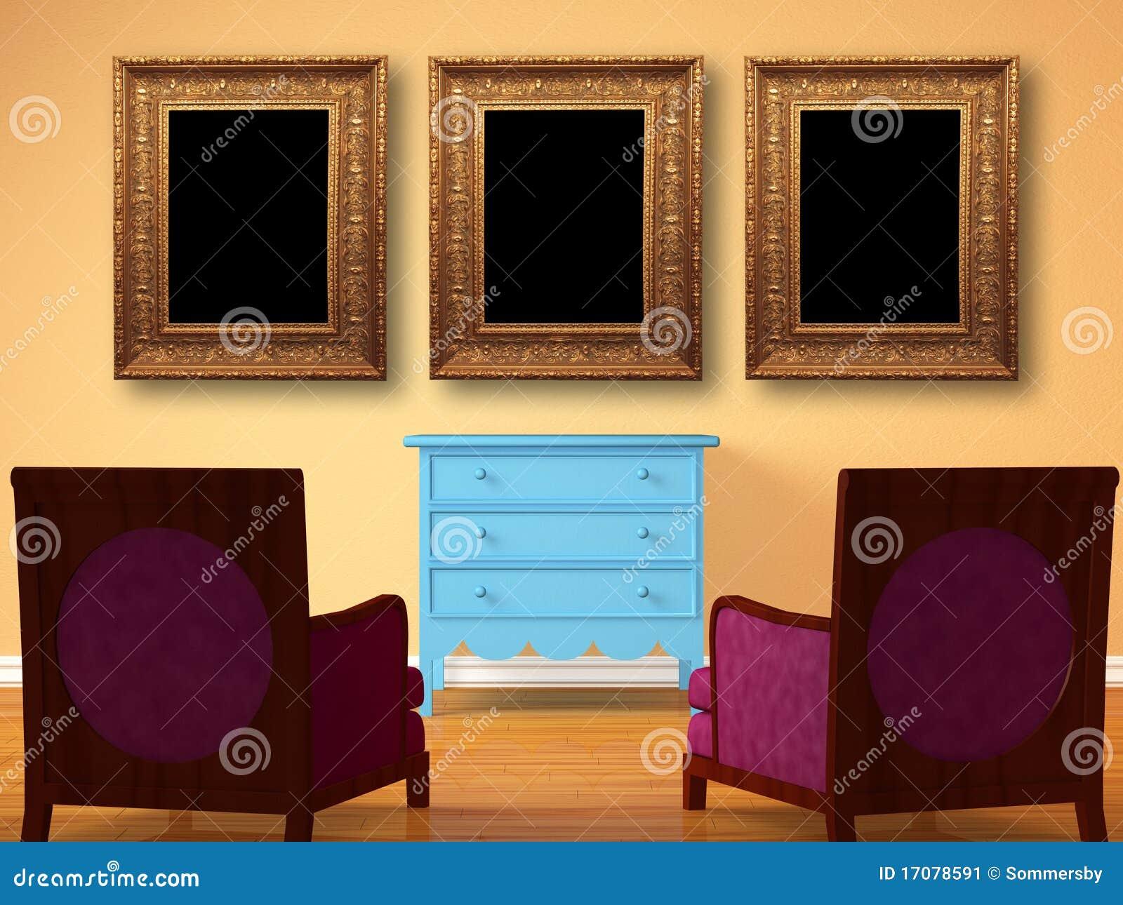 Duas cadeiras oposto à cabeceira de madeira com frames