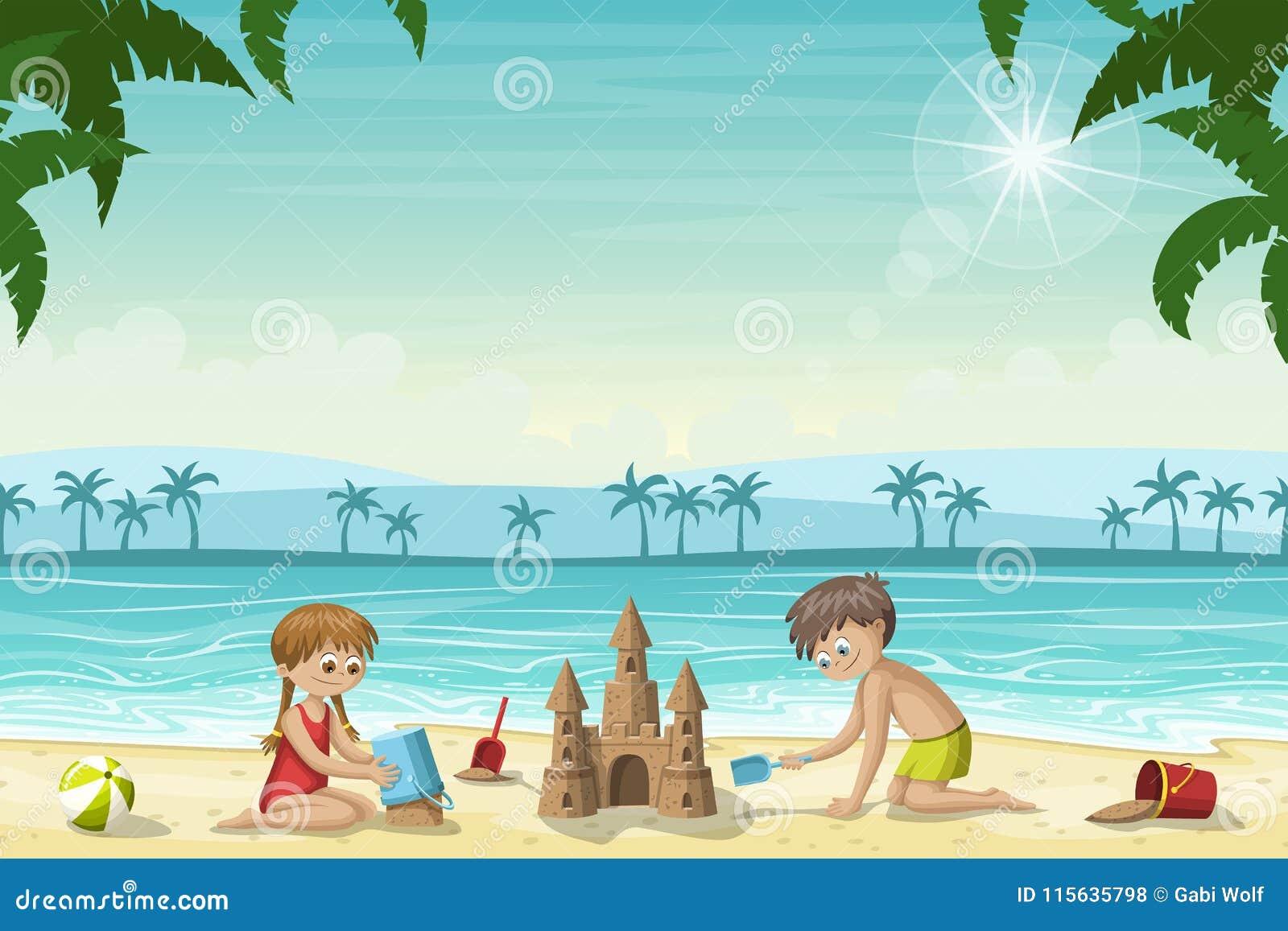 Duas crianças constroem um castelo de areia