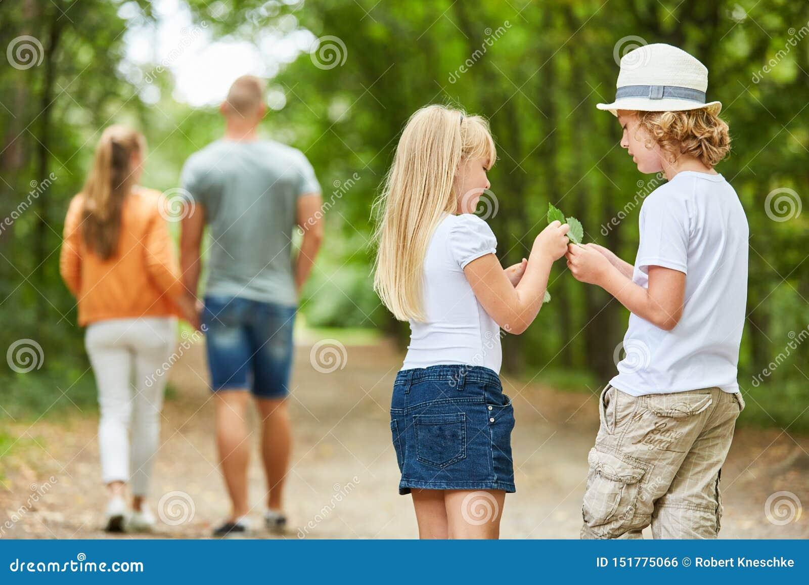Duas crianças recolhem curiosamente as folhas