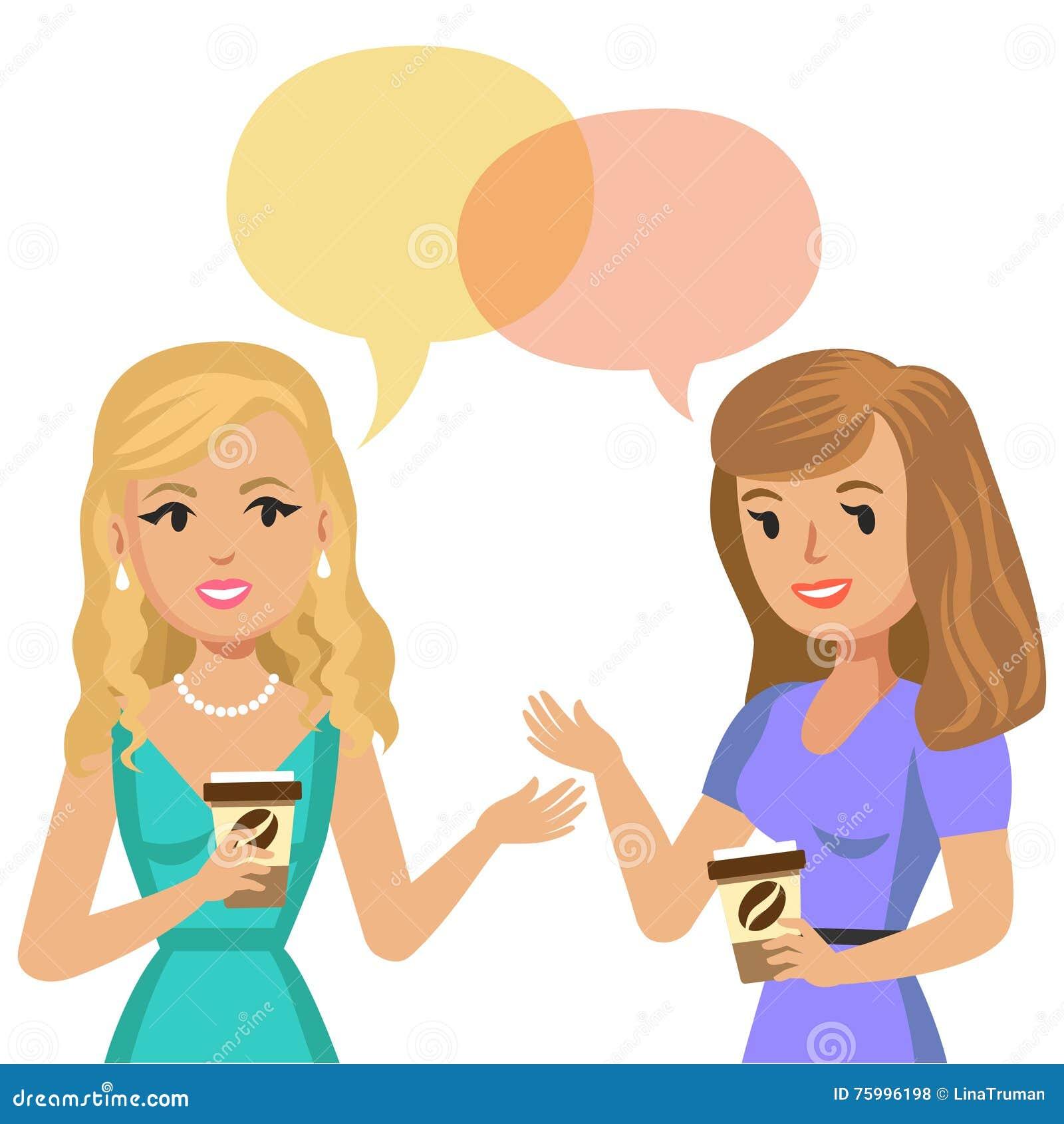Duas jovens mulheres que falam no café Meninas da bisbolhetice Amigos da reunião