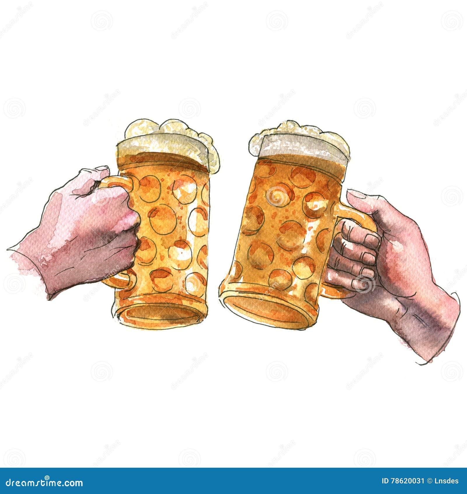 Duas mãos que guardam as canecas de cerveja que fazem o brinde, elogios, ilustração da aquarela