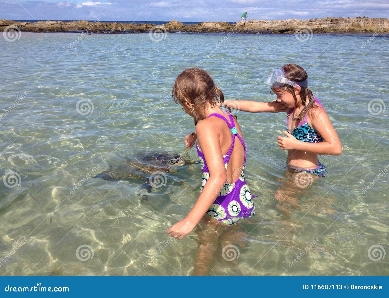 Duas meninas alimentam uma tartaruga de mar
