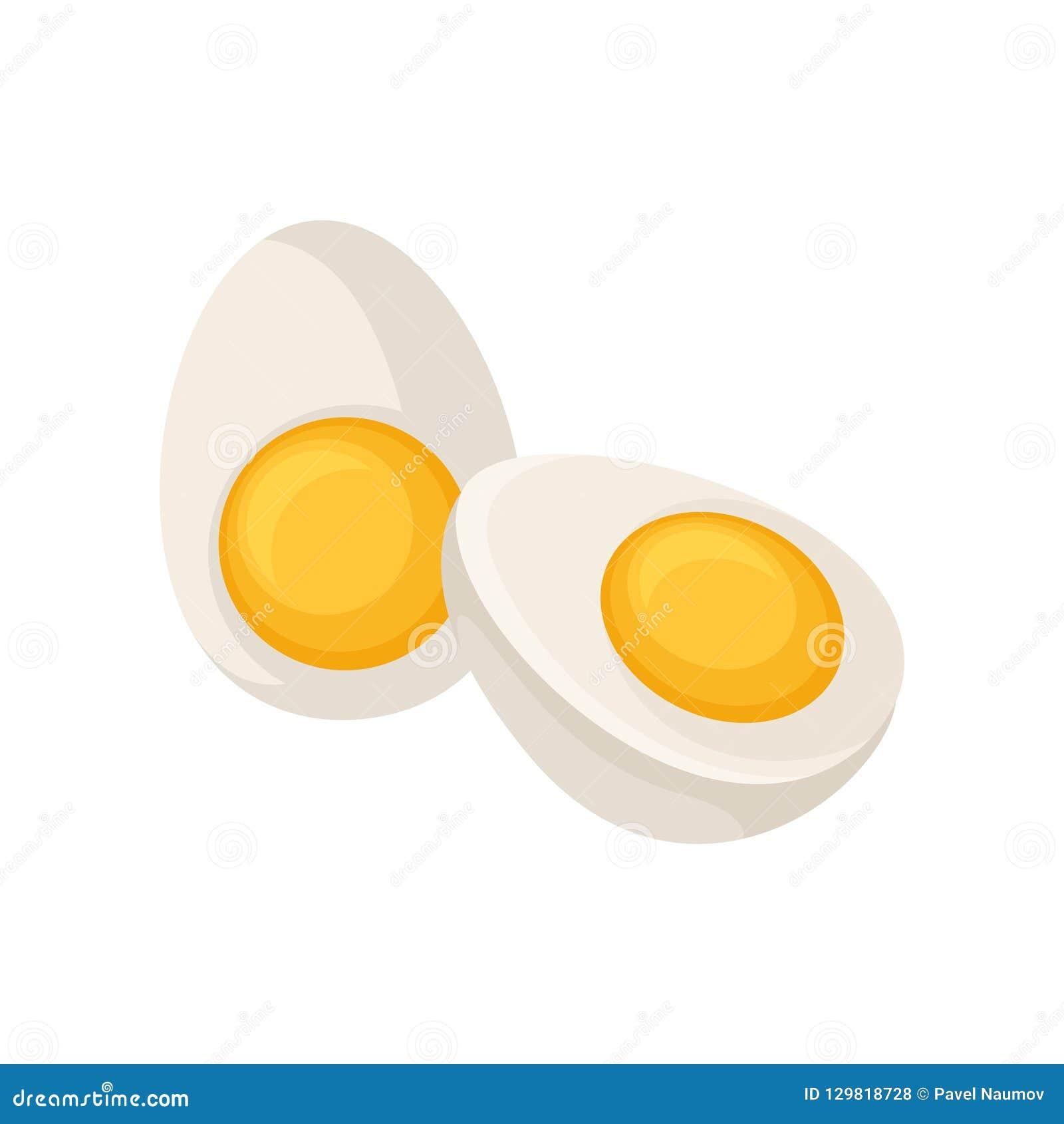 Duas metades do ovo cozido isoladas no fundo branco Produto saudável cozinhando o ingrediente Ícone liso do vetor