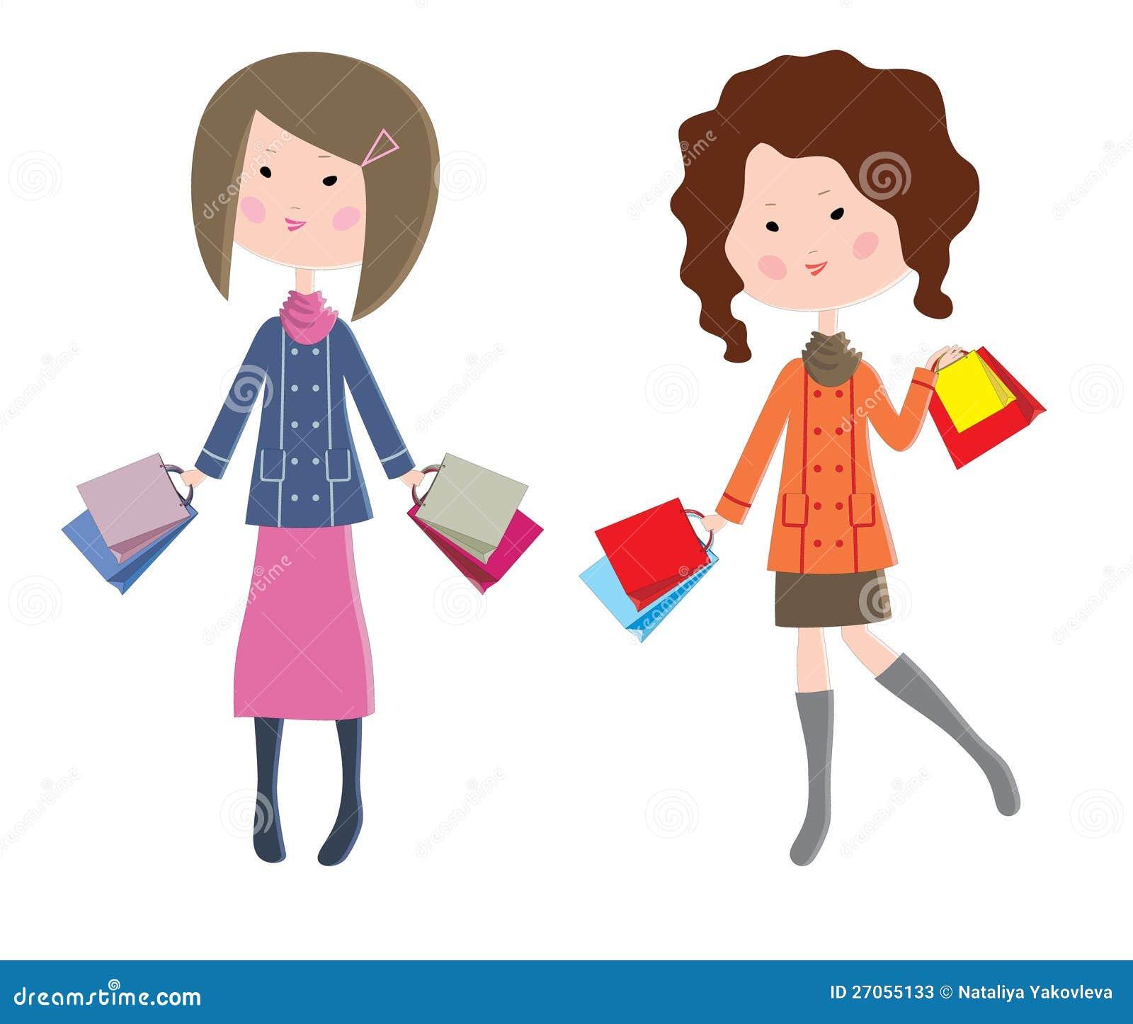 Duas mulheres dos desenhos animados com pacotes fotos de for Sala de estar 3x5