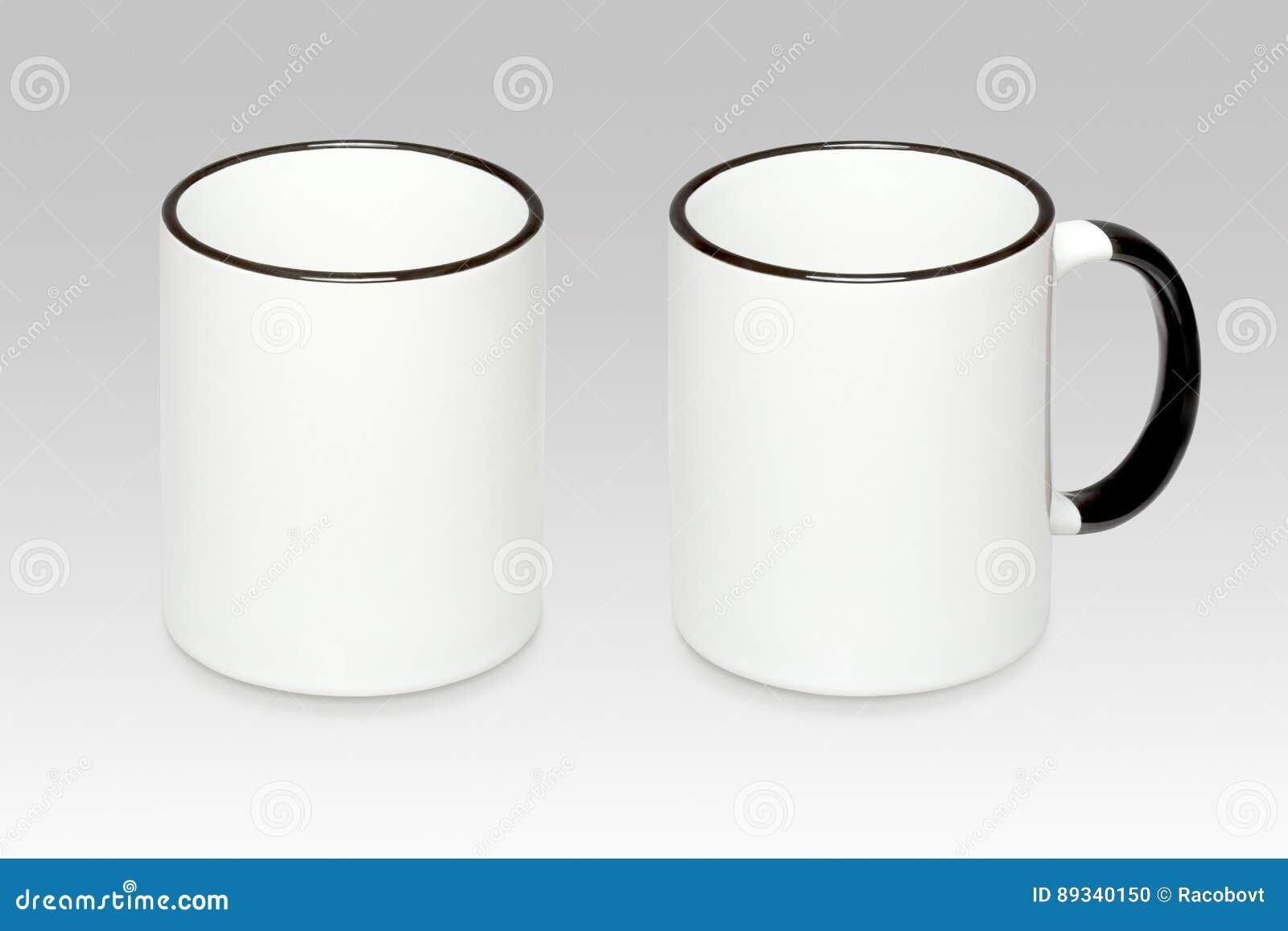 Duas posições de uma caneca branca