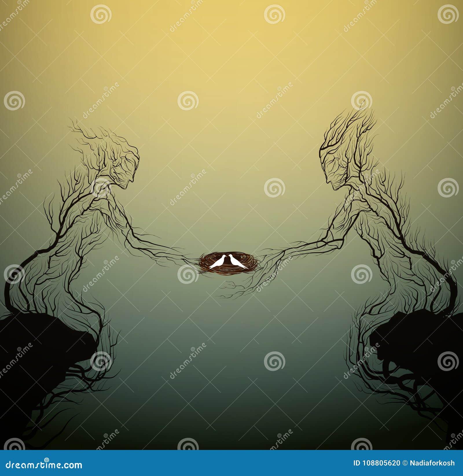Duas silhuetas da árvore gostam de um homem e a mulher que guarda pássaros aninha-se, povos como a planta,