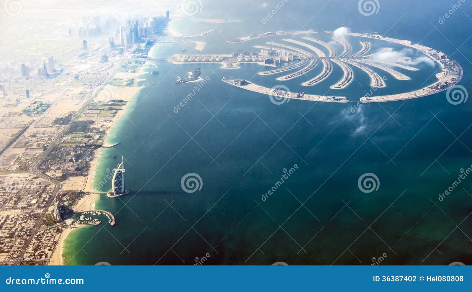 Dubai Burj Al Arab And Palm Island Stock Photo