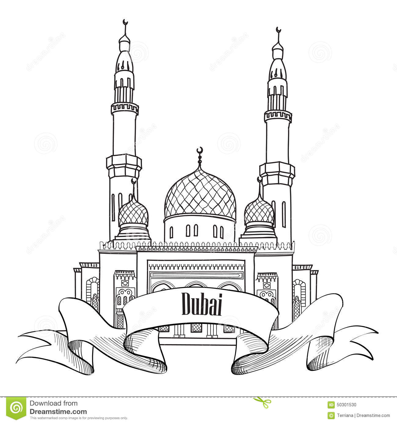 Umrah Banner: Saudi Arabia Skyline World Tallest Building Vector Cartoon