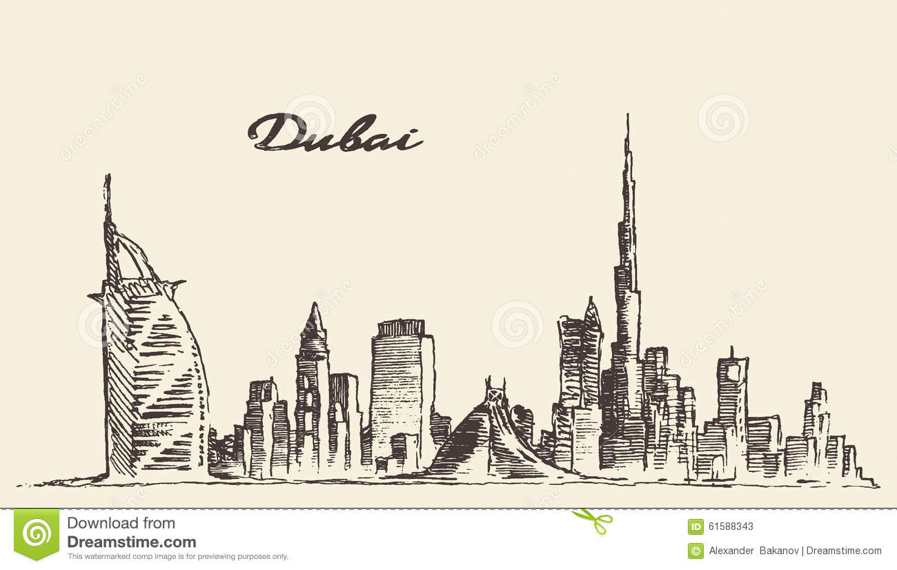 Dubai City Skyline Hand Drawn Vector Illustration Stock
