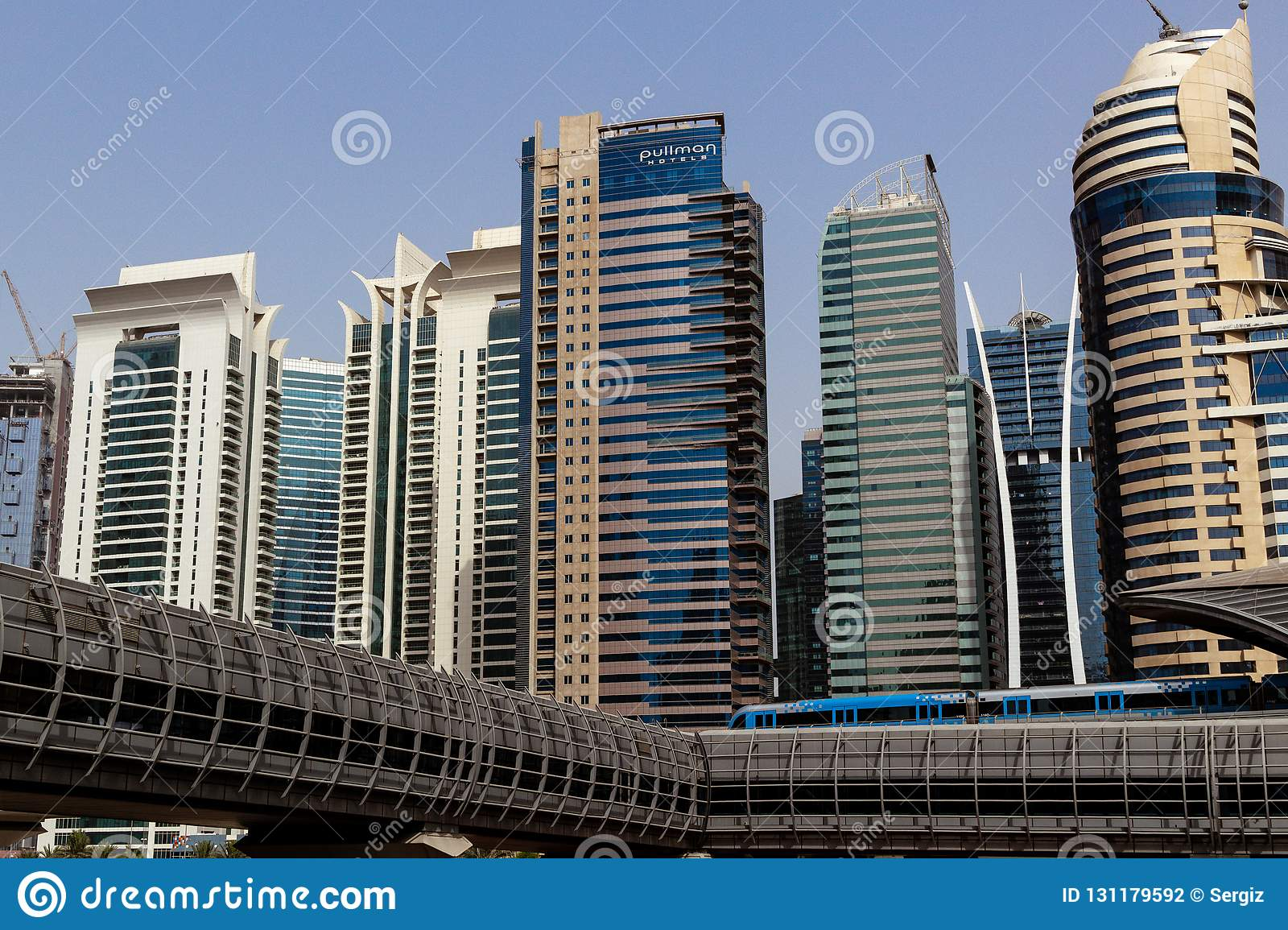 Dubai downtown skyscrapers, highway and metro.