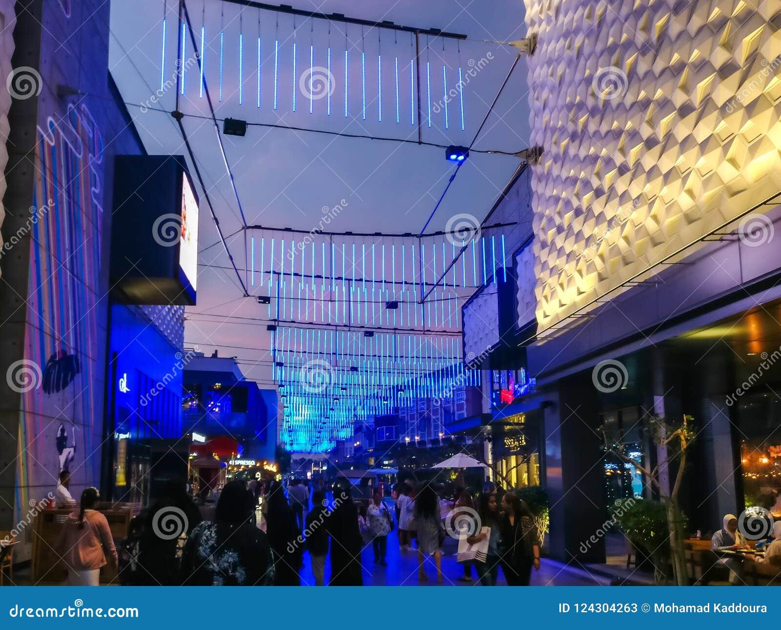 Dubai epic neon light interior design of the dubai city walk at night