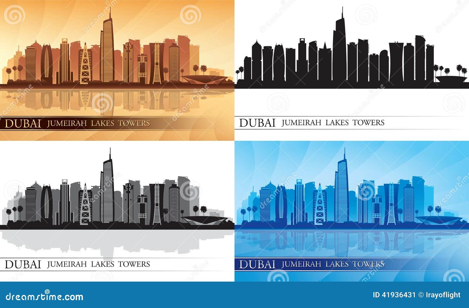 Dubai Jumeirah Lakes Towers skyline silhouette Set