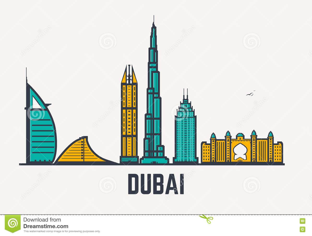 Dubai Lines Stock Vector Illustration Of Cityscape East