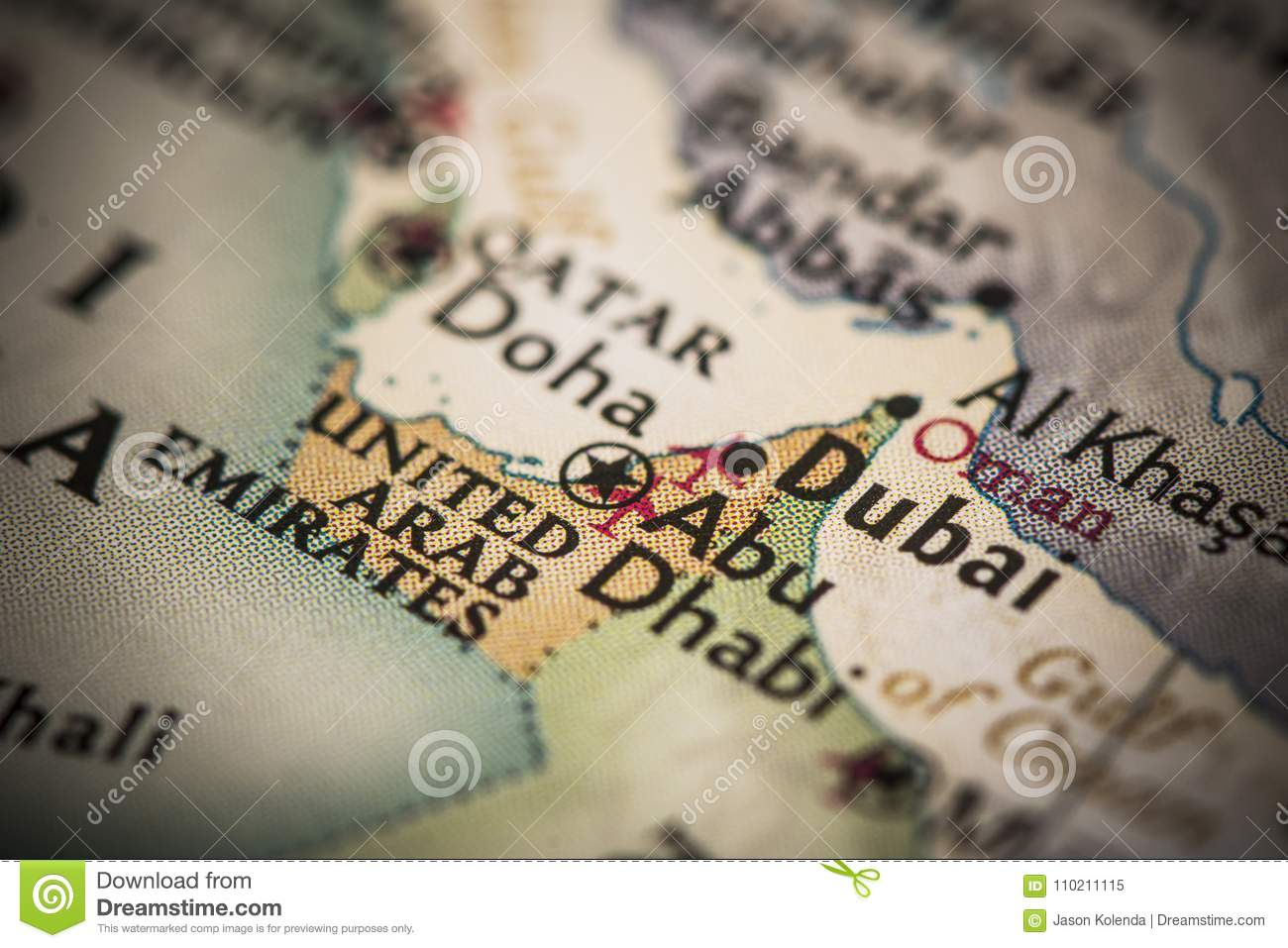 Dubai on map stock image. Image of atlas, geography - 110211115