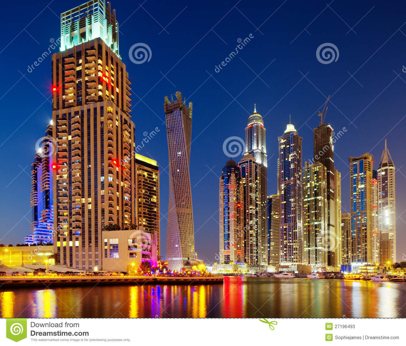 Dubai Marina, Dubai, UAE At Dusk Stock Photos - Image: 27196493