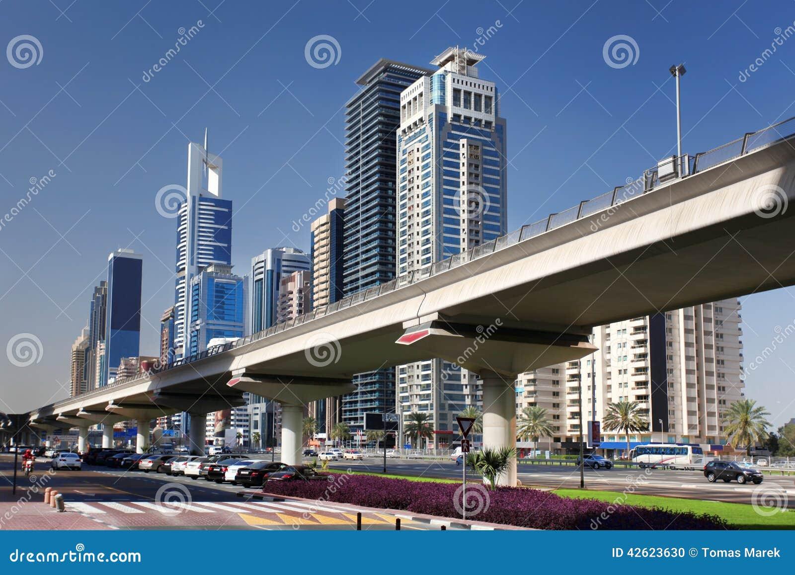 Dubai Metro against skyscrapers, United Arab Emirates