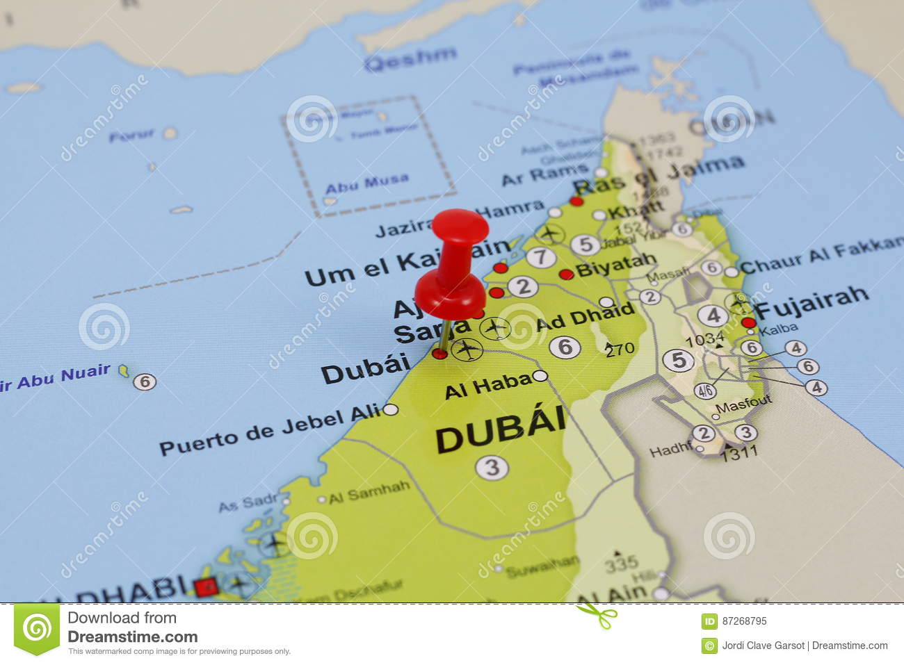 Dubai pin in a map stock image. Image of focus, location ...