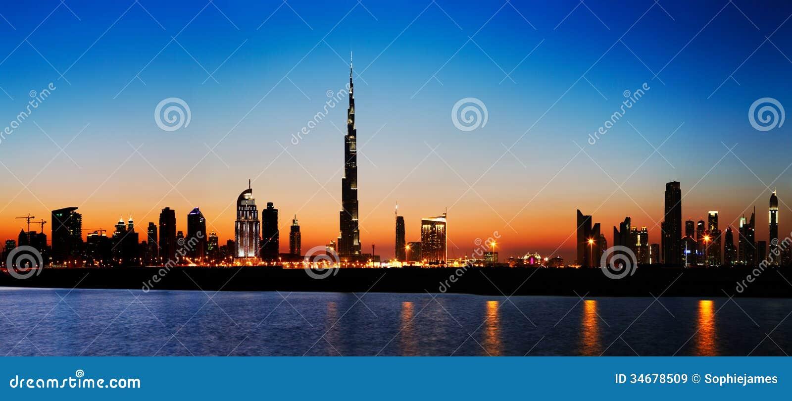 Dubai skyline at dusk seen from the Gulf Coast