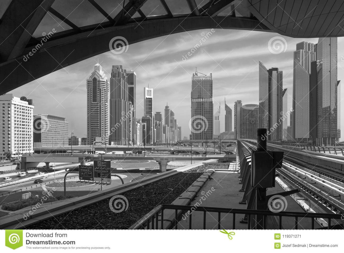 Dubai - The skyscrapers of downtown and the rails of metro