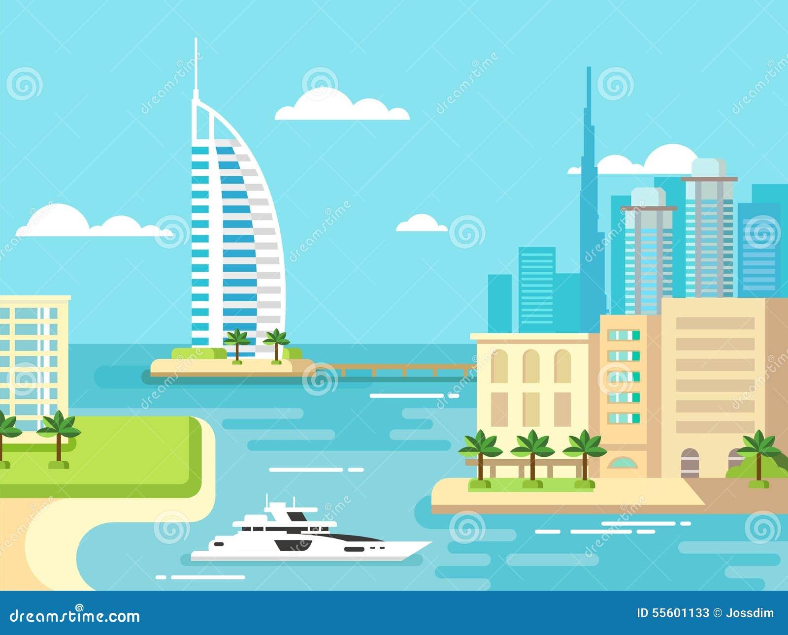 Dubai-Stadt-Strand-Skyline