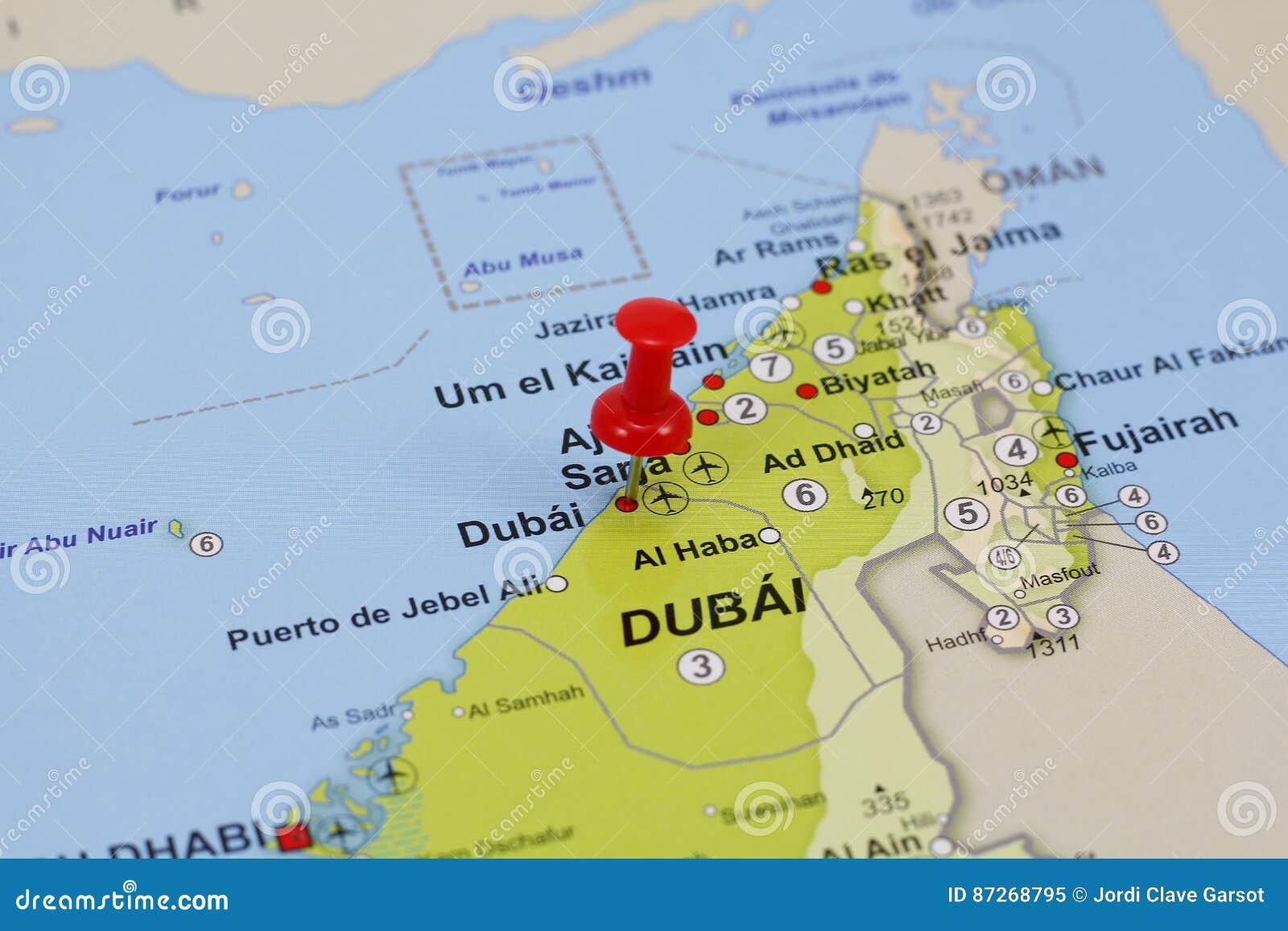 Dubai-Stift in einer Karte stockbild. Bild von stadt - 87268795