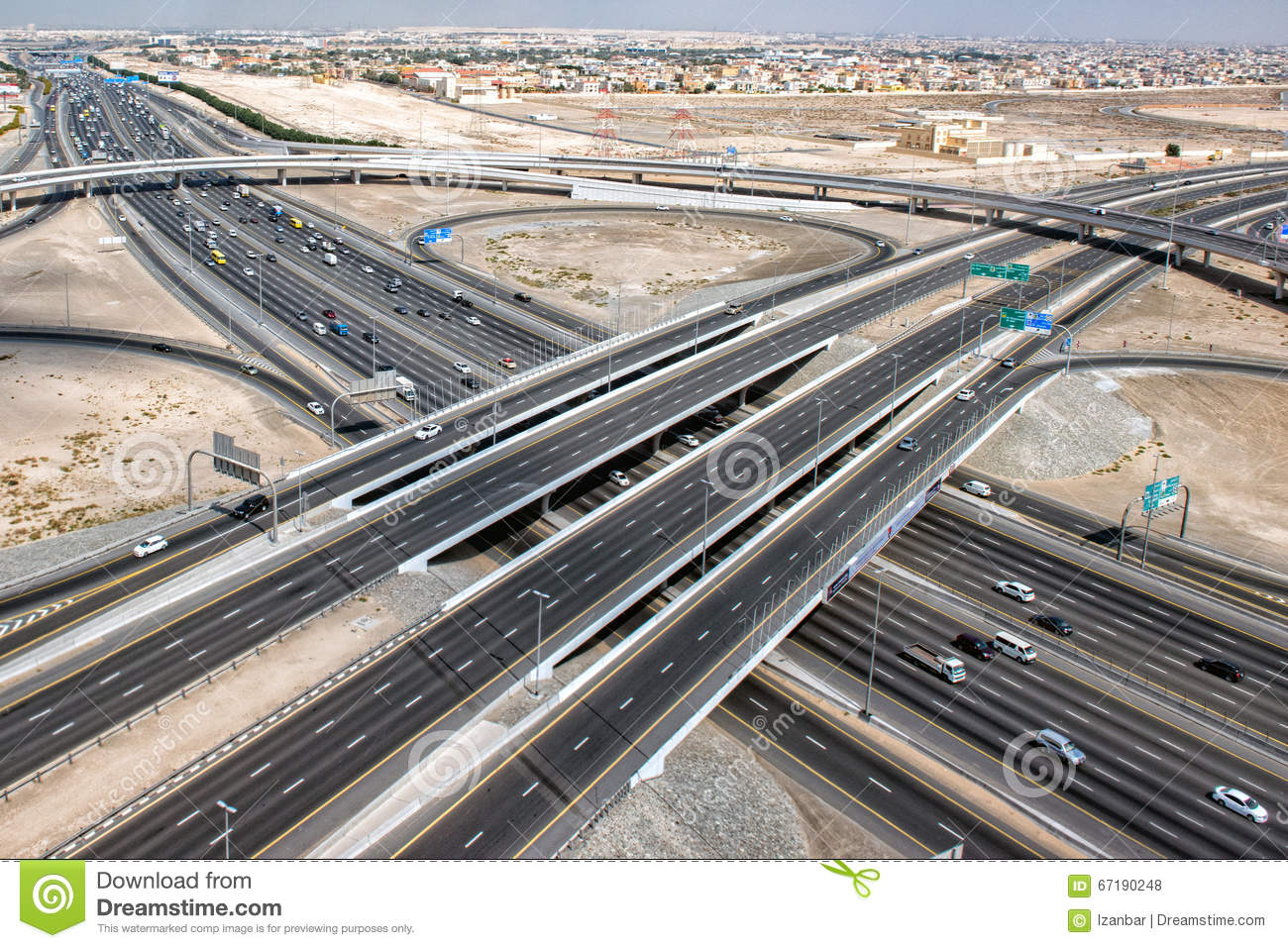 Dubai town highways aerial view panorama