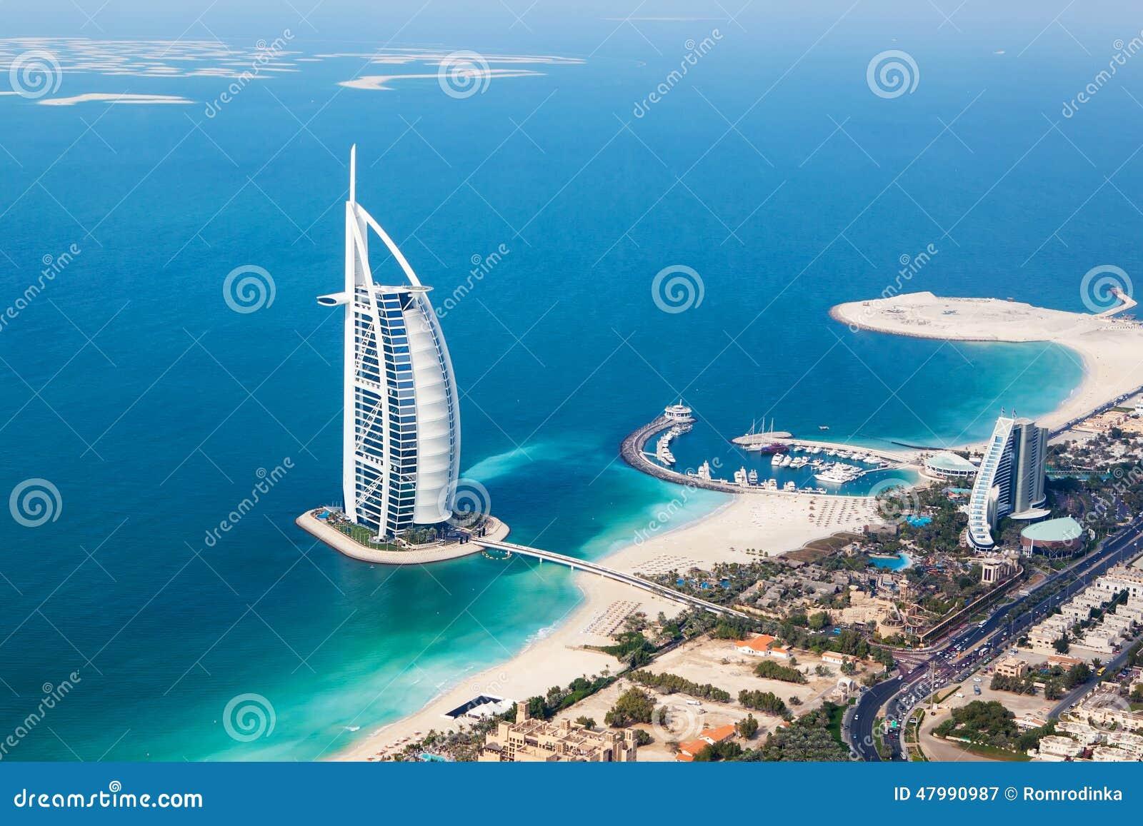 Dubai  Uae  Burj Al Arab From Helicopter View Editorial