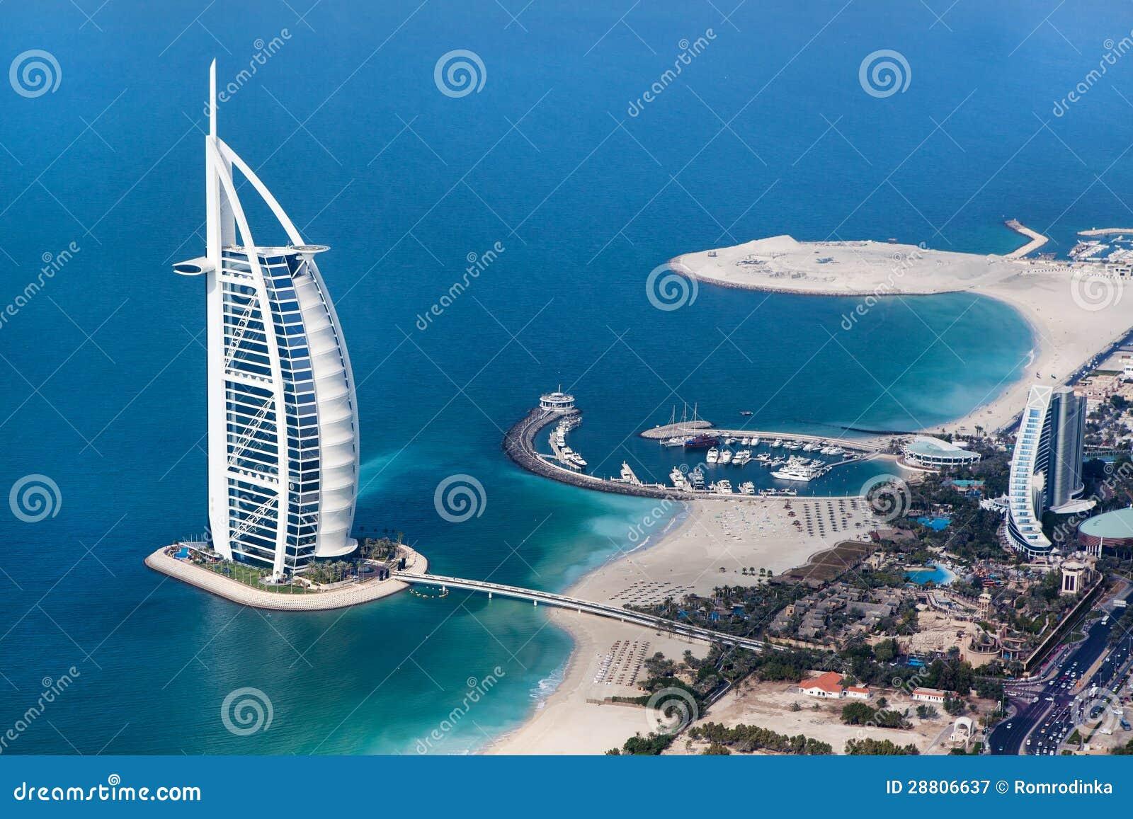 Dubai, UAE. Burj Al-Araber von oben