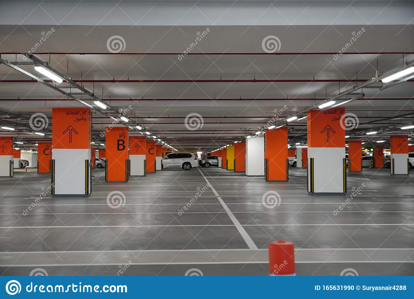 Dubai Uae December 2019 Underground Parking Which Is Almost Empty Empty Garage In Basement Of Office Building Reinforced Editorial Image Image Of Asphalt Night 165631990