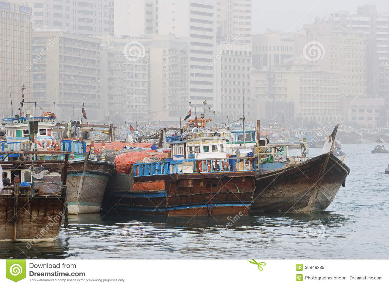 Dubai UAE Dhows Old Wooden Sailing Vessels Are Docked ...