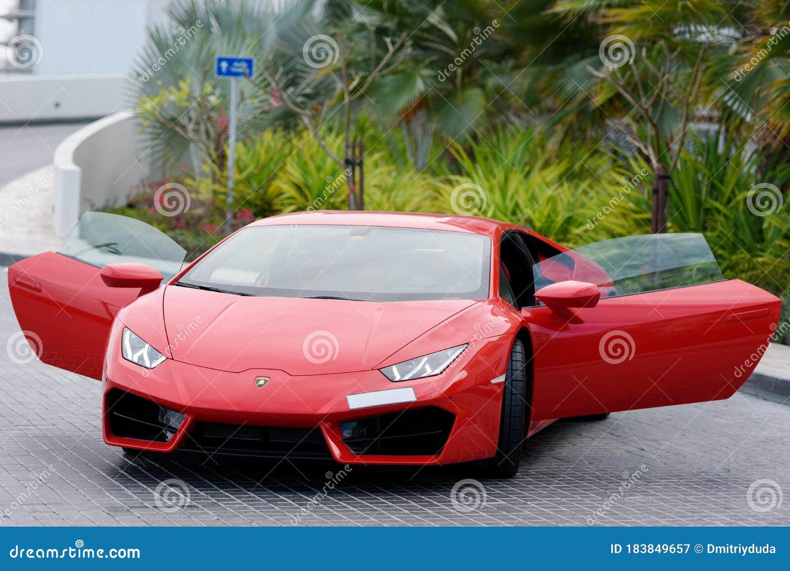 Dubai Uae January 13 2017 Red Luxury Supercar Lamborghini Aventador Roadster Car On The Road In Dubai Editorial Photography Image Of Dream Reflection 183849657