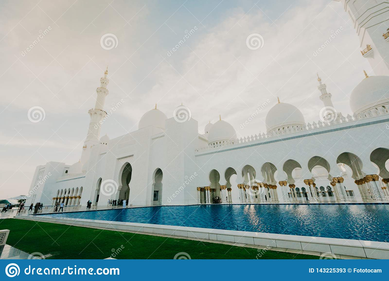 DUBAI, UAE - January 06,2019: Sheikh Zayed Grand Mosque, Abu Dhabi. The 3rd largest mosque in the world, area is 22,412 square