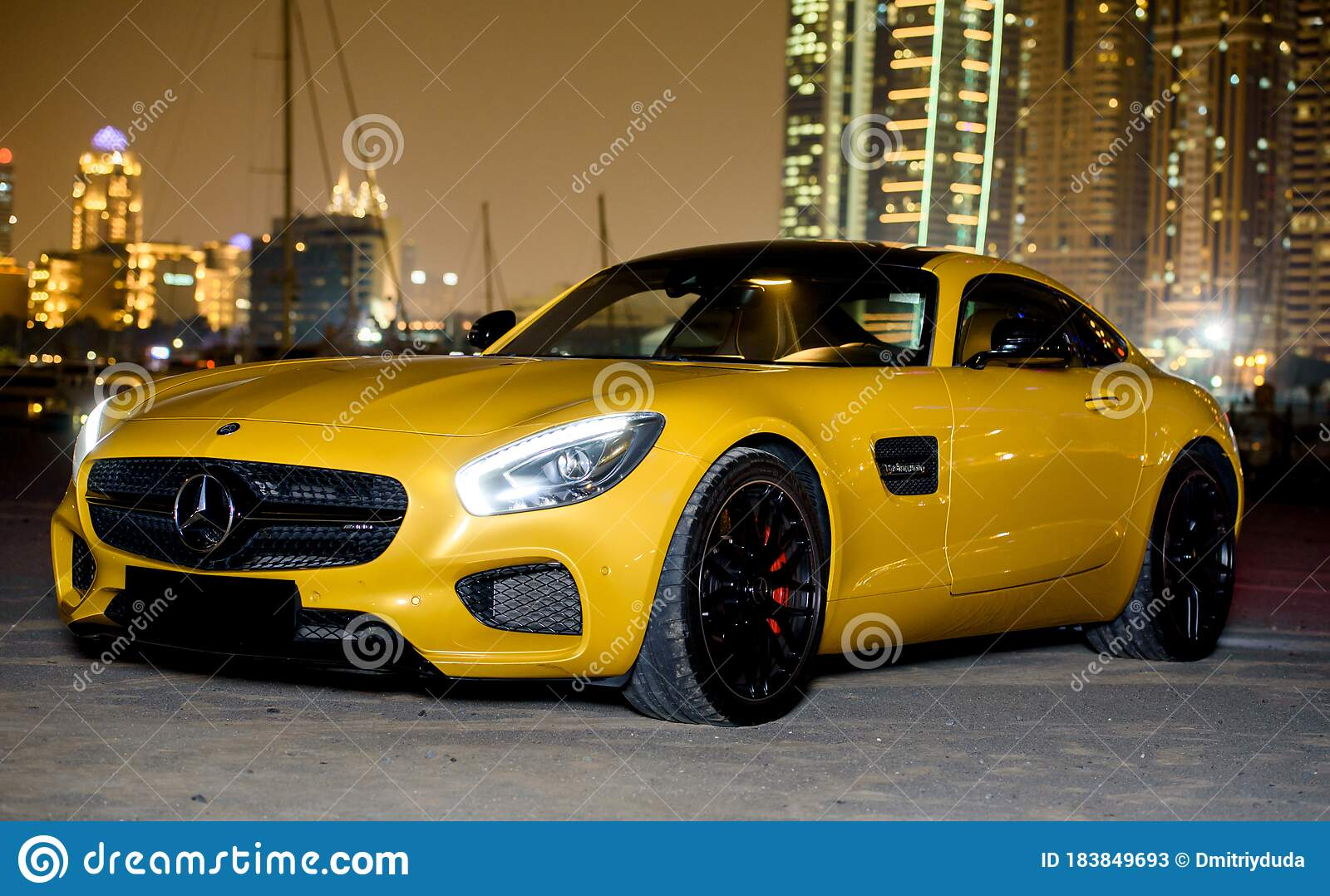 Dubai Uae January 23 2017 Yellow Luxury Supercar Mercedes Benz Amg On The Road In Dubai Editorial Stock Photo Image Of Numbers Expensive 183849693