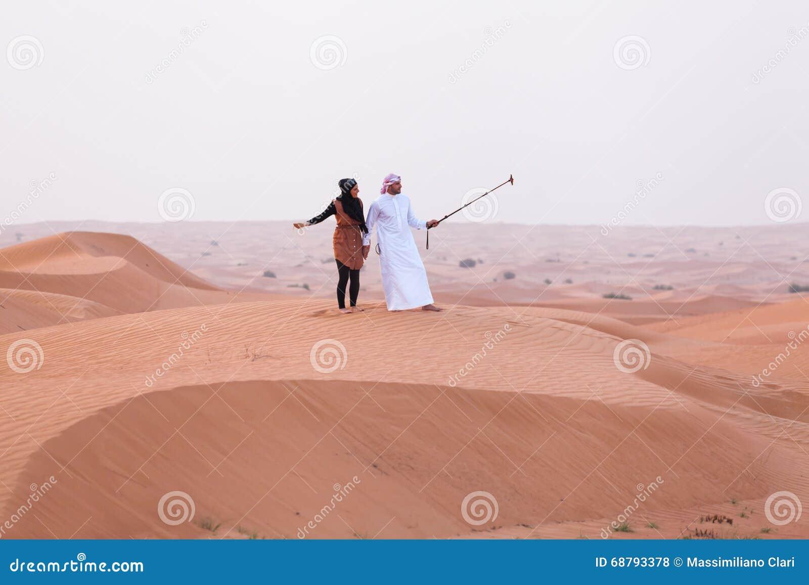 DUBAI, UAE - 11 MAY, 2014: Safari - driving on the desert, tradi