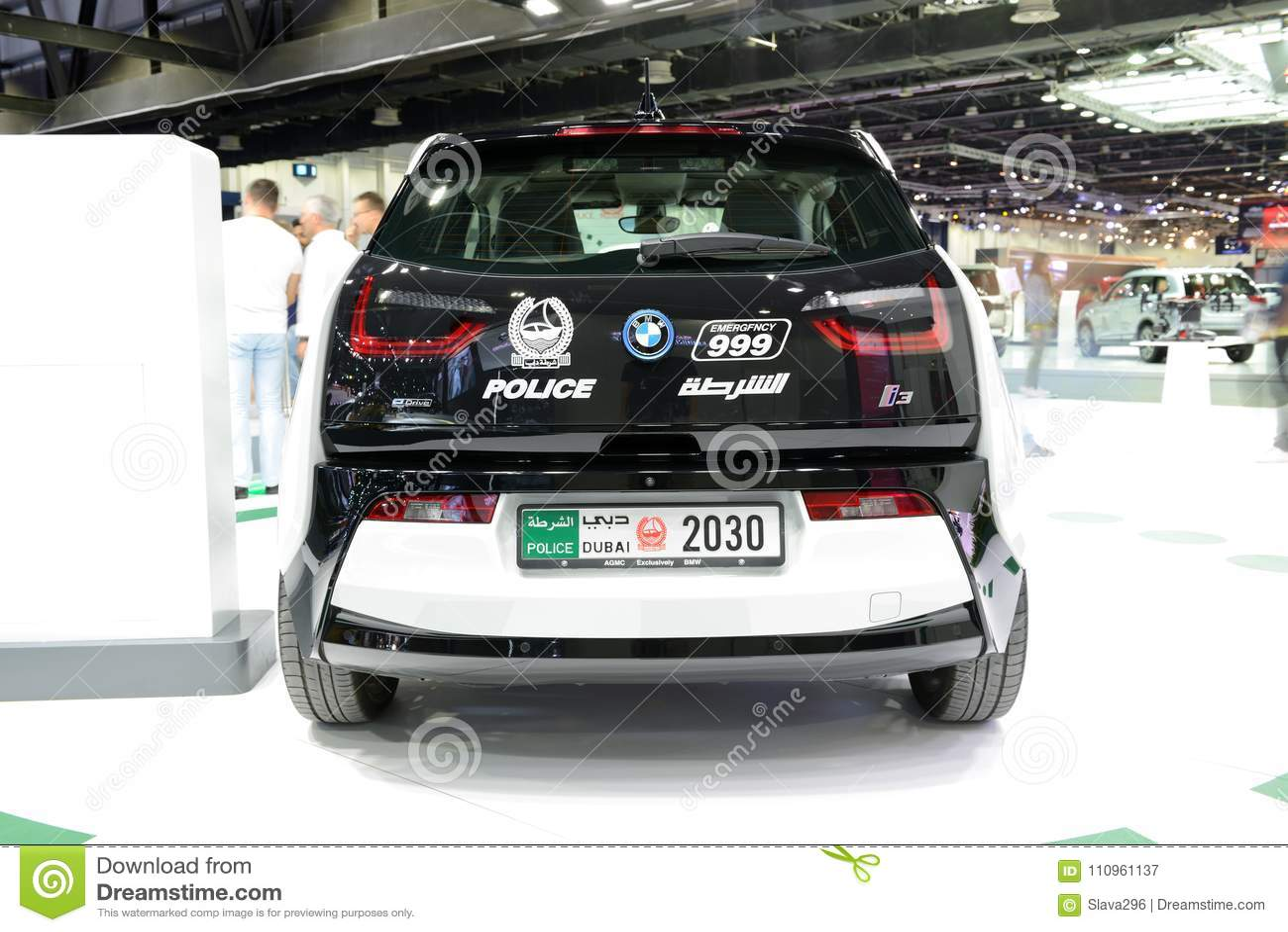 The Bmw I3 Of Dubai Police Electric Car Is On Dubai Motor Show 2017