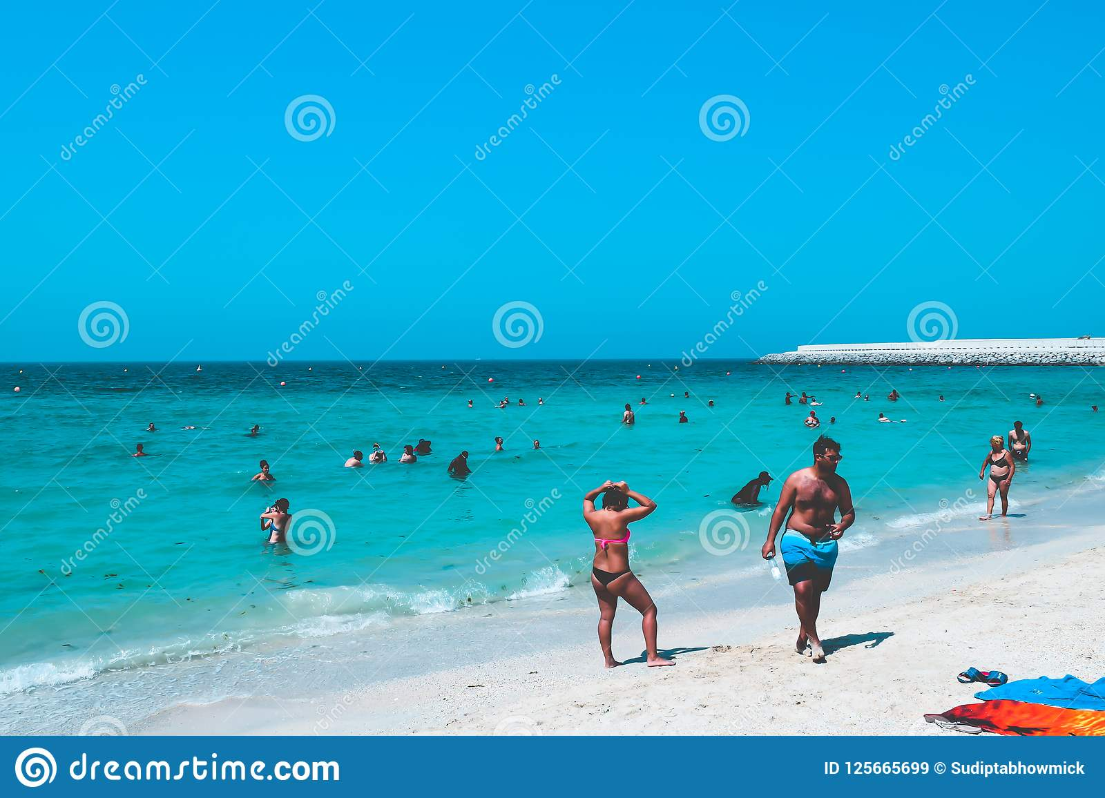 Dubai Uae United Arab Emirates 23 April 2016 View Of Public Beach With Turquoise Water Editorial Stock Image Image Of Couple Christmas 125665699
