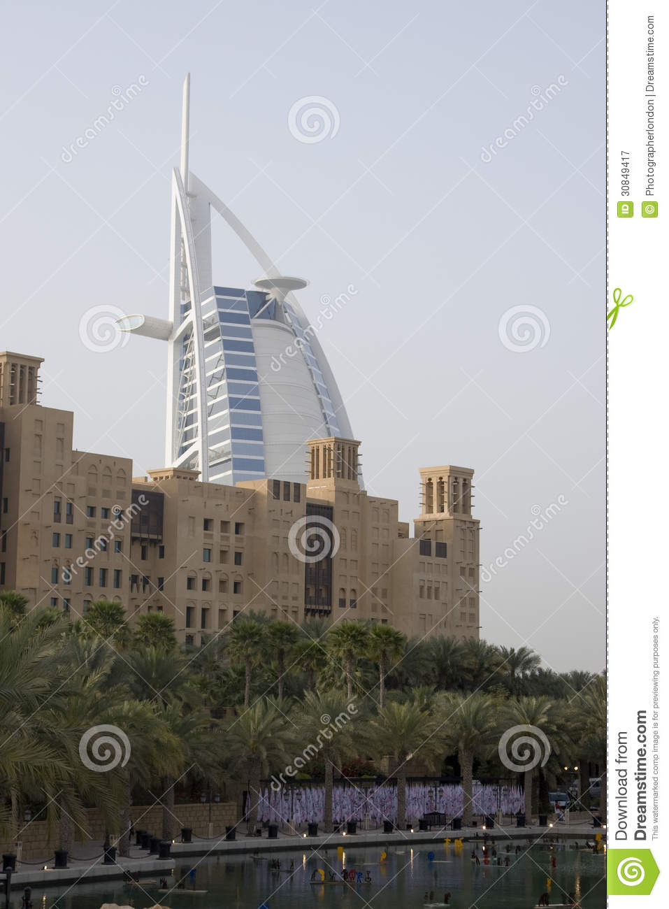 Dubai uae world famous burj al arab hotel seen beyond old for Dubai world famous hotel