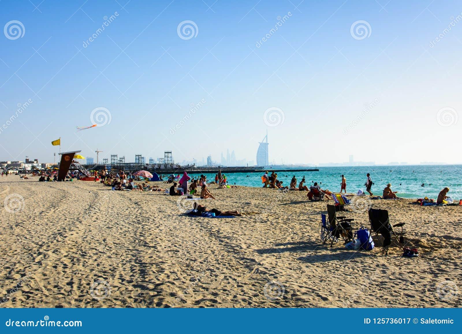 Dubai United Arab Emirates April 20 2018 Kite Beach In Dubai