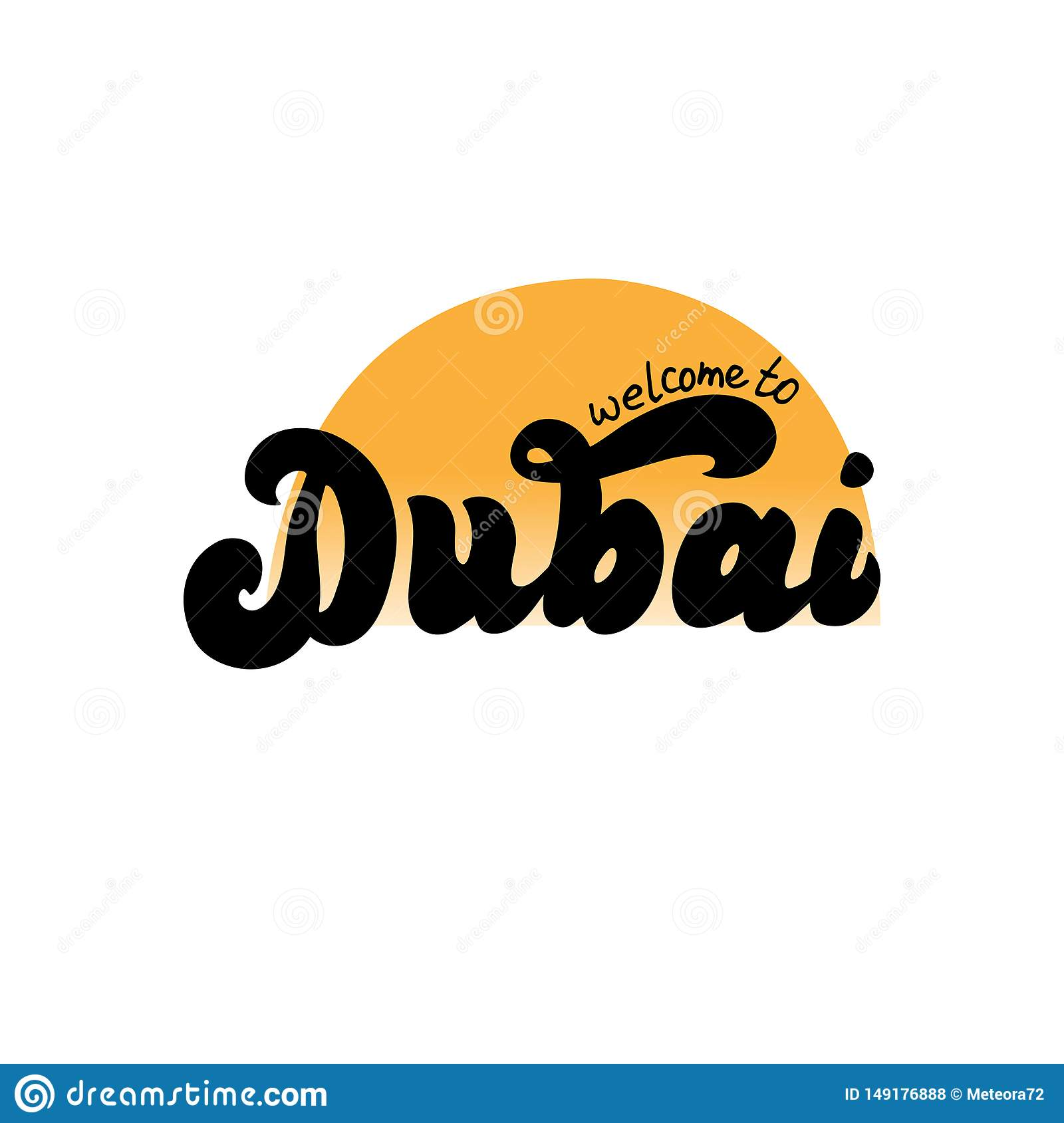 Dubai Welcome To Hand Drawn Logotype Modern Template For