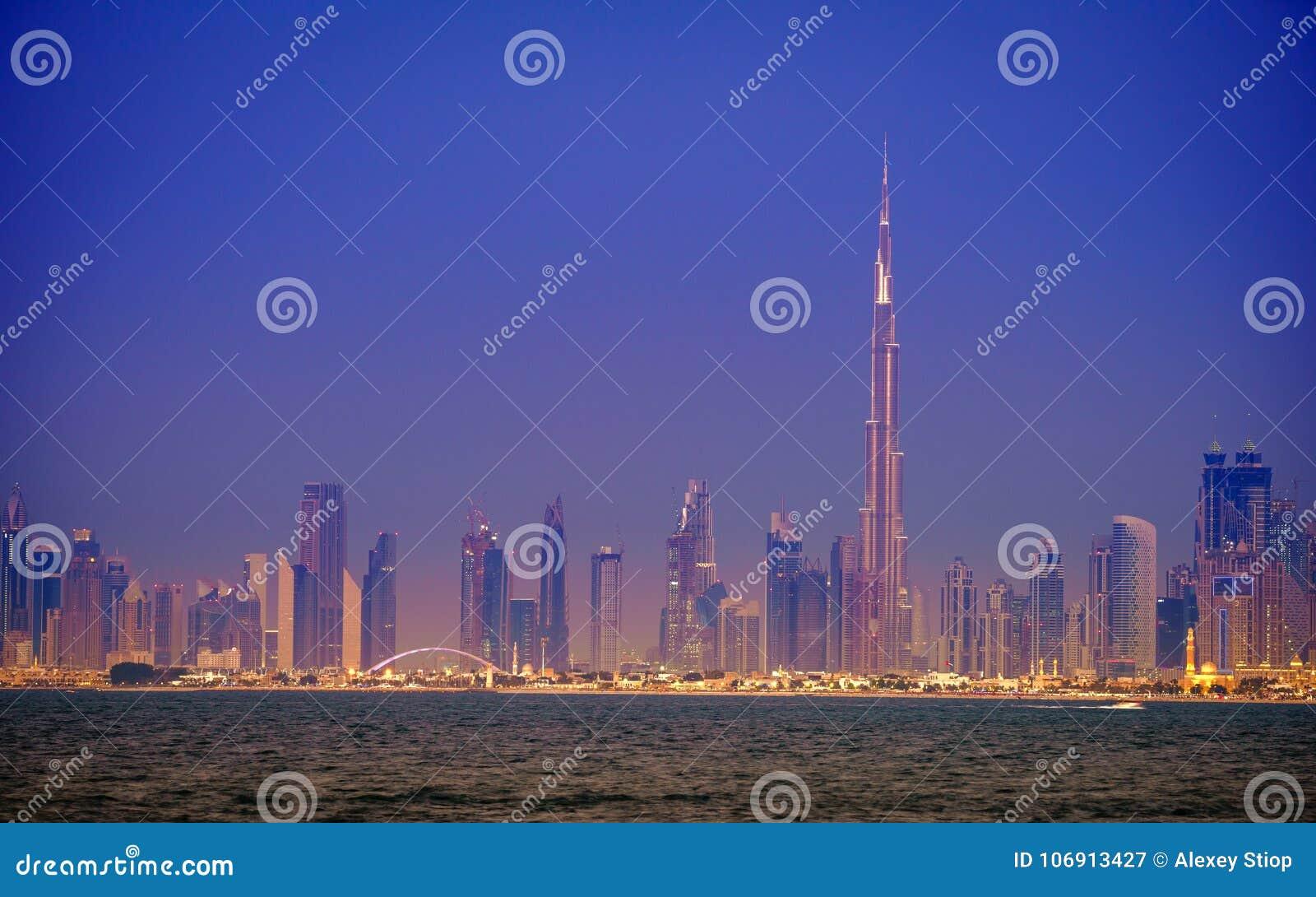 Dubaj śródmieścia linia horyzontu