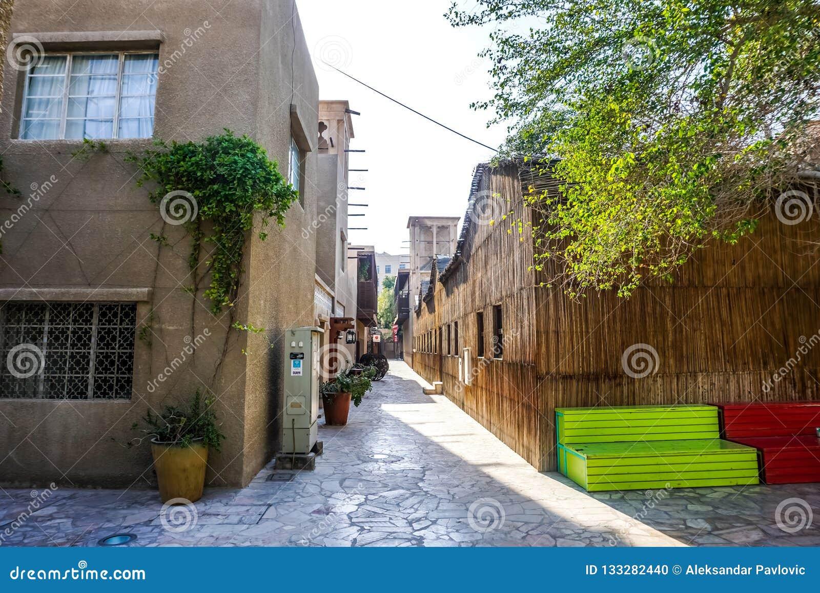 Dubaj Al Bastakiya Al Fahidi Neighbourhood Dziejowa ławka