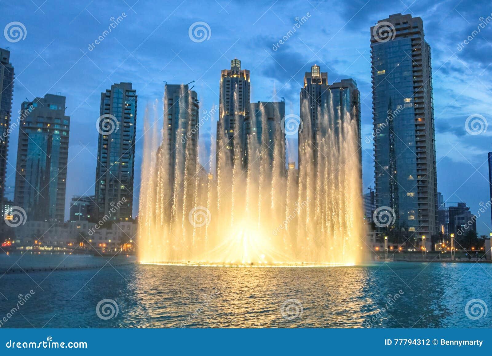Dubaj fontanny nocy przedstawienie
