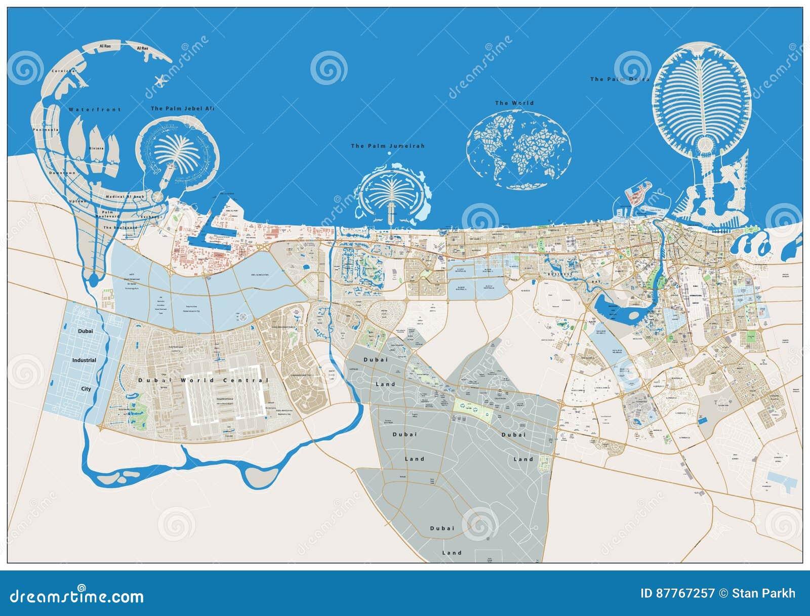 Dubaj Ogromnego Miasta Mapa Ilustracja Wektor Ilustracja