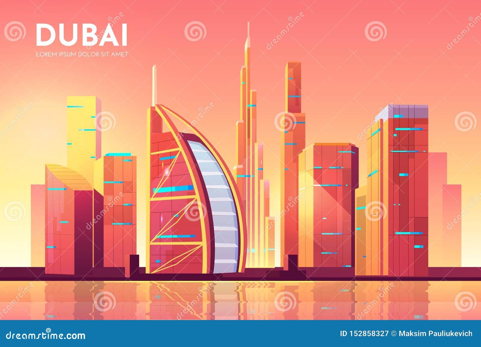 Dubaj, UAE pejzażu miejskiego architektury tło