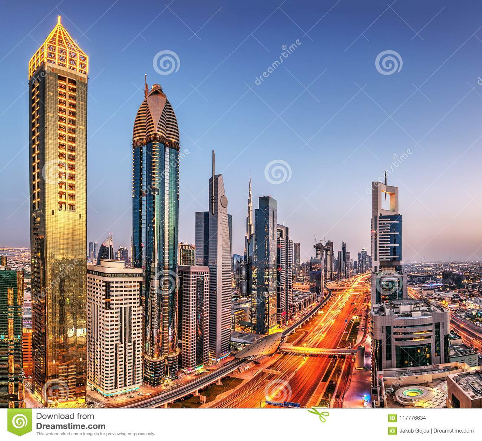 Dubaj zmierzchu panoramiczny widok Burj Khalifa