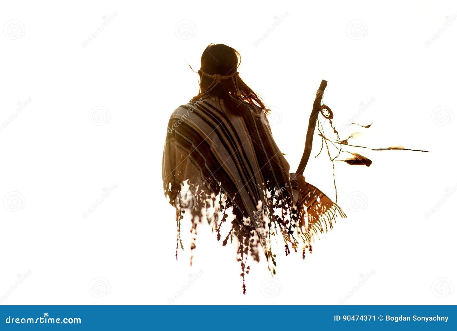 Dubbel exponering av kvinnan och braches för indian den indiska i s
